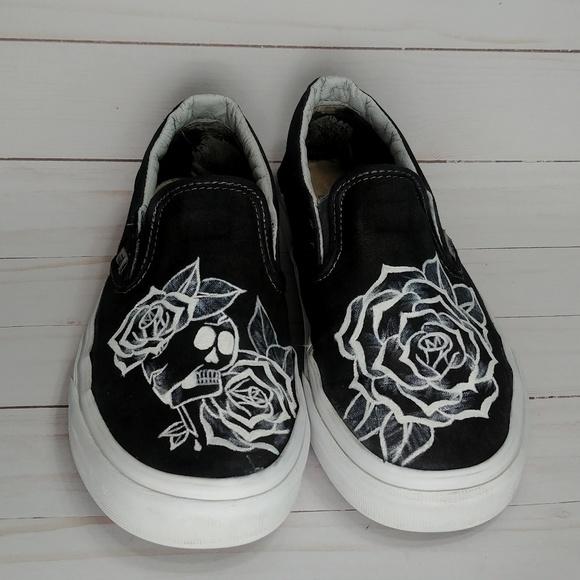 Black & White Skull & Rose on Black Vans Authentic Custom Hand Painted Shoes